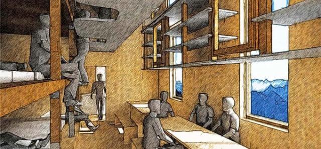 Vue d'artiste de l'intérieur du futur refuge de l'Aigle. © Atelier 17C