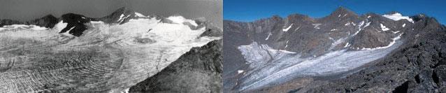 Glacier de Sarennes en 1906… et en 2005. © E.Thibert LGGE