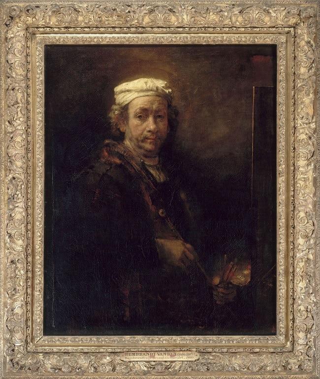 Rembrandt : Autoportrait au chevalet, 1660 Huile sur toile 111 x 90 cm Collection du Musée du Louvres, Paris