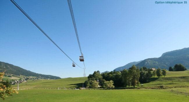 Vue d'artiste d'un téléphérique débrayable 3S depuis la Maison du Parc Câble reliant l'agglomération de Grenoble au plateau du Vercors.
