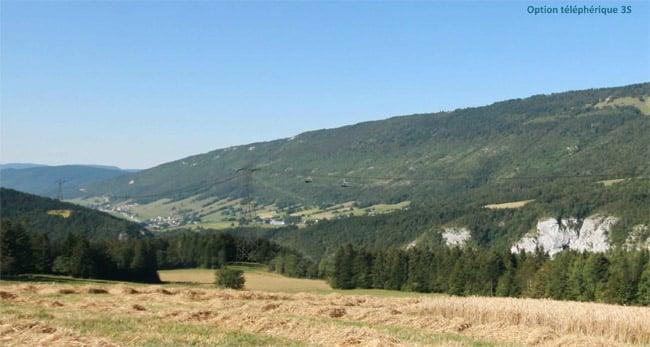 Insertion paysagère d'un téléphérique débrayable 3S depuis Saint-Nizier-du-Moucherote Câble reliant le Vercors à l'agglomération de Grenoble.