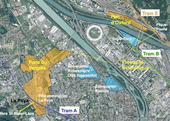 Schéma des projets d'extension du câble en plaine : débat Place Gre'net pour le téléphérique 3S ou une télécabine reliant l'agglomération grenobloise au plateau du Vercors