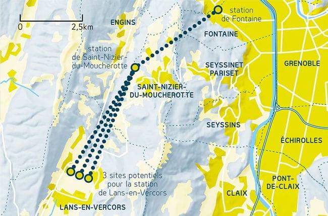 Schéma des trois tracés possibles pour le câble reliant Fontaine à Lans-en-Vercors présenté lors du débat Place Gre'net sur le téléphérique entre l'agglomération grenobloise et le Vercors
