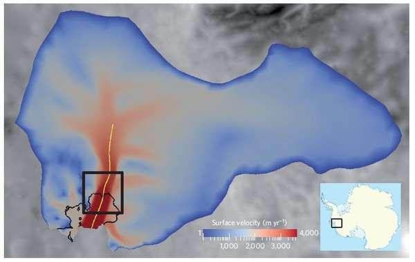 Vitesse de déplacement de la surface du glacier de l'Île du Pin en Antarctique : la vitesse croît du bleu au rouge