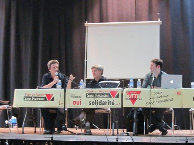 De gauche à droite. Joël Gombin (sociologue), Philippe Descamps (Acrimed) et Jerôme Berthaut (sociologue des médias)