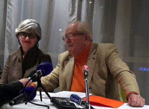 Mireille d'Ornano et Jean-Marie Le Pen président d'honneur du Front National FN à Grenoble