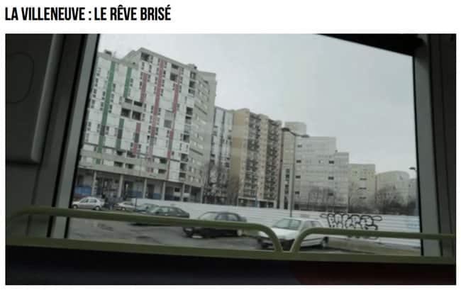 Immeubles vus depuis le tram A dans le reportage Envoyé Spécial Villeneuve le rêve brisé diffusé sur France 2