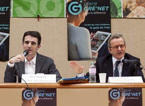 Eric Piolle et Jérôme Safar lors du deuxième débat Place Gre'net Club de la Presse de Grenoble et de l'Isère