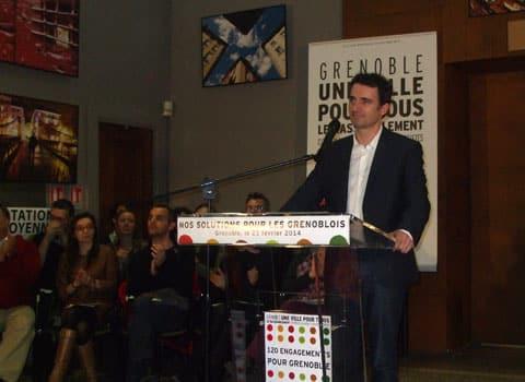 Eric Piolle lors de la présentation de la liste Grenoble une ville pour tous. © Guillaume Rantet - placegrenet.fr
