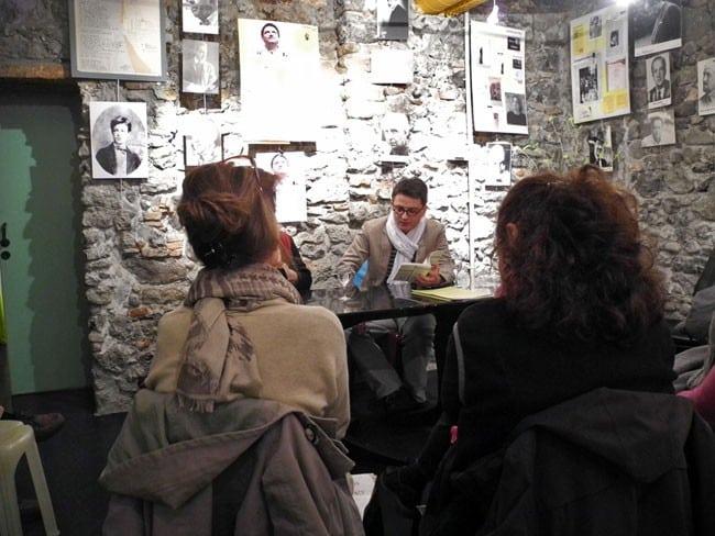 L'écrivain Nicolas Clément à la librairie La Dérive à Grenoble : photo de Yann Montigné