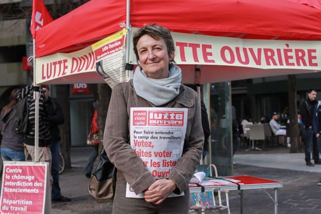 Catherine Brun, tete de liste Lutte Ouvriere aux Municipales de Grenoble 2014 © Véronique Serre