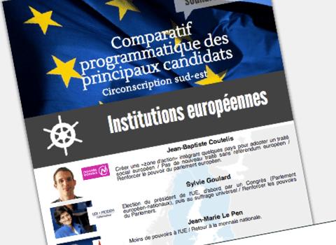 Capture d'écran des programmes des candidats sud-est aux institutions européennes.