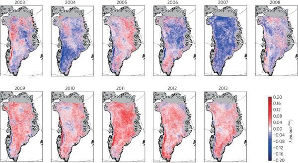 Evolution des impuretés de la calotte glaciaire au Groënland de 2009 à 2013 Source http://lgge.osug.fr