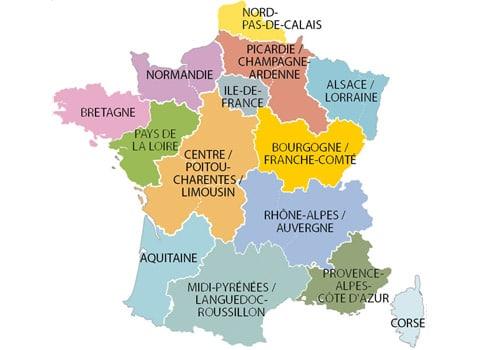 Carte de la réforme territoriale de la France. DR