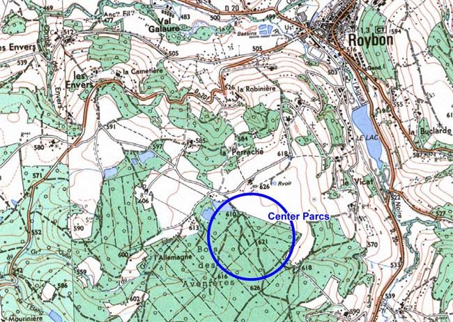 Carte implantation Center Parcs Roybon Pierre et Vacances Forêt des Avenières Chambarans Isère