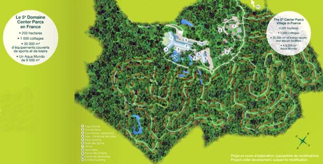 Plan Center Parcs Roybon Pierre et Vacances Forêt des Avenières Chambarans Isère