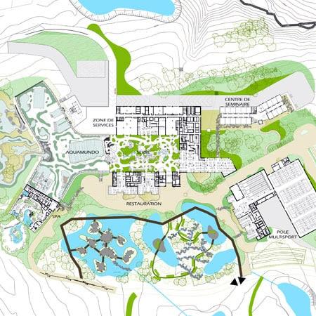 Plan masse Center Parcs Roybon Pierre et Vacances Forêt des Avenières Chambarans Isère
