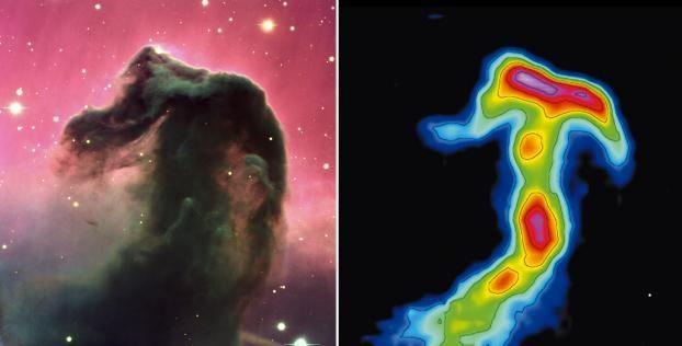 Nébuleuse de la tête de cheval.  Imagerie visible; ©ESO Imagerie millimétrique: ©IRAM