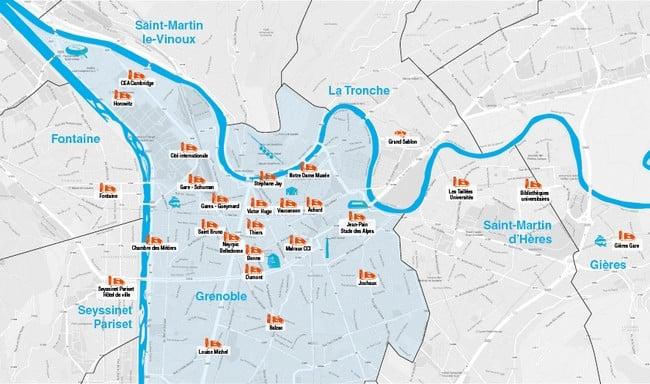 La carte des 27 stations de recharge pour les I-Road et Coms © Cité Lib by Hamo
