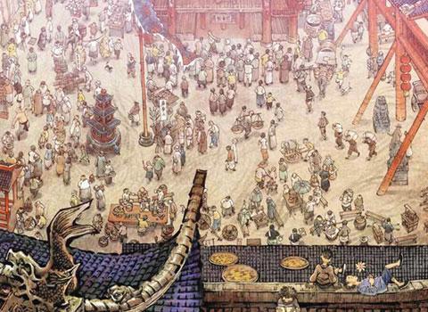 Dessin d'une scène de marché 23ème édition des 5 jours de la BD de Grenoble du 17 au 19 octobre 2014 avec le dessinateur Zhang Xiaoyu en invité d'honneur