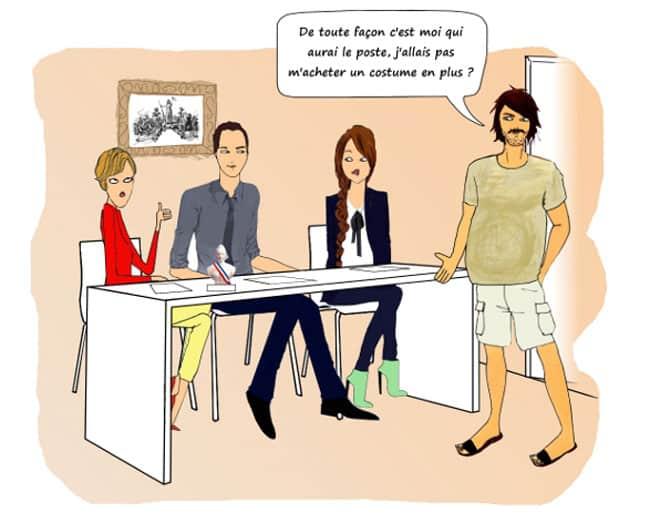 Dessin sur l'emploi en collectivité et le clientélisme entretien d'embauche : De toute façon c'est moi qui aurai le poste, j'allais pas m'acheter un costume en plus ?