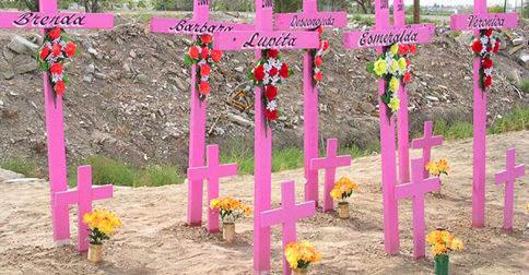 Croix roses avec des noms de femmes pour symboliser les féminicides © Osez le féminisme 38