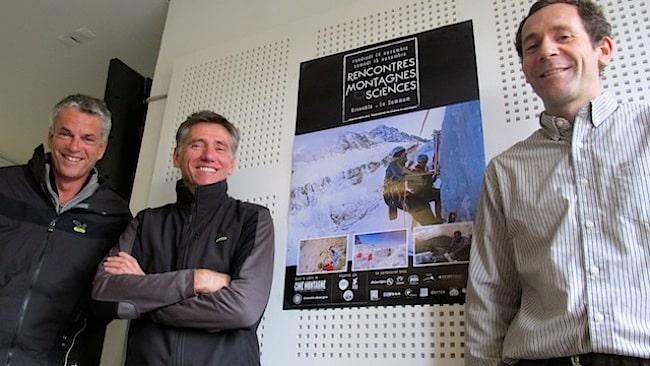 Rencontres Montagnes et sciences : Dominique Létang (directeur ANENA), Pascal Fancea (réalisateur) et Eric Larose, sismologue-acousticien et co-organisateur du festival