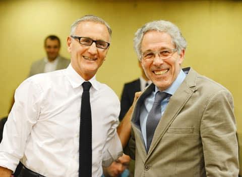 André Vallini secrétaire d'état à la réforme territoriale et Frédéric Cottalorda président du conseil général de l'Isère