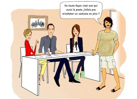 Dessin sur l'emploi en collectivité et le clientélisme entretien d'embauche : De toute façon c'est moi qui aurai le poste, j'allais pas m'acheter un costume en plus ? © Véronique Magnin - placegrenet.fr