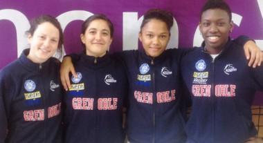 Championnes d'escrime du Club d'escrime Grenoble Parmentier: Gaëlle Didier, Isabelle Pegliasco, Amélie Awong et Océane Tahé