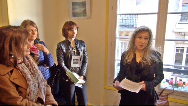 Muriel Beaudoing, directrice de publication de placegrenet.fr, à l'occasion du Pot du Club de la presse dans les locaux de Place Gre'net le 8 janvier 2015. © Joël Kermabon - Place Gre'net