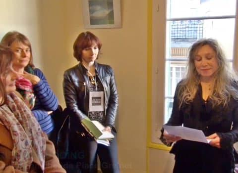 Discours de Muriel Beaudoing dans les locaux de Place Gre'net lors du pot du club de la presse © Joël Kermabon - placegrenet.fr