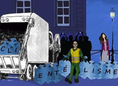 Sacs poubelles clientélisme jetés dans un camion benne par un éboueur. © Véronique Magnin - placegrenet.fr
