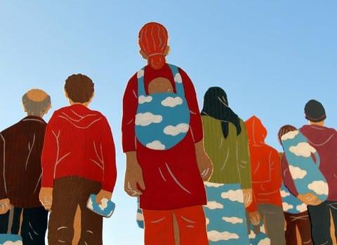 Illustration de l'installation plastique et sonore sur le thème de l'exil, installée du 22 mars au 6 avril, au Musée Dauphinois. © Jérôme Ruillier et Isabelle Carrier