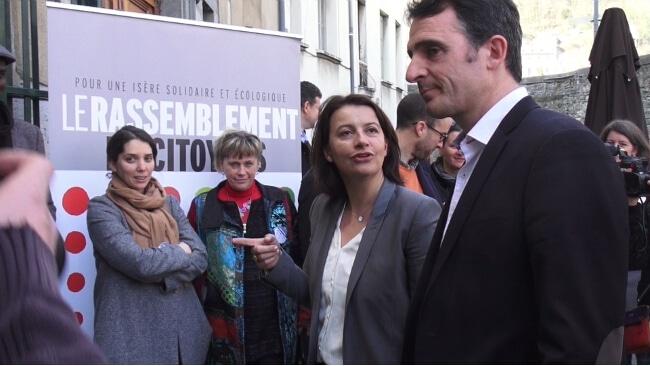 Cécile Duflot à Grenoble en 2015 en soutien aux candidats du Rassemblement des citoyens aux départementales - © Joël Kermabon - Place Gre'net