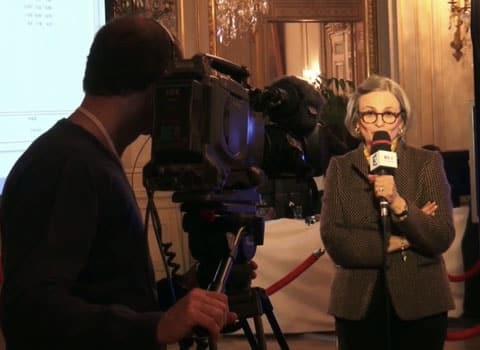 Mireille D'Ornano candidate du Front National en tête au premier tour des élections départementales sur le canton de Charvieu-Chavagnieux, interrogée à la préfecture de l'Isère à Grenoble. © Joël Kermabon - placegrenet.fr