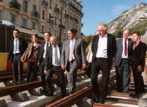 Michel Destot, lors d'une visite de chantier de la la ligne E du tramway. DR