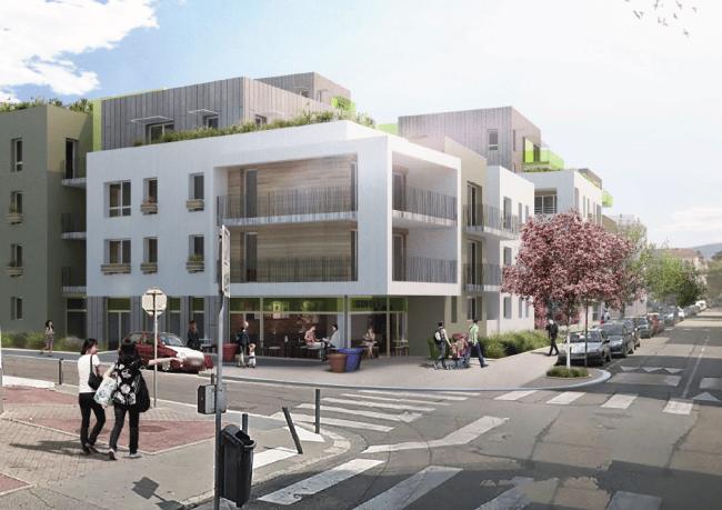 Vue d'architecte des futurs immeubles d'habitation sur l'ancien site de production ARaymond à Grenoble. © Patriarche & Co