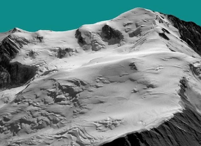 Le versant français du Mont-Blanc reconstruit en 3D à partir des images du satellite Pléiades (19 août 2012). Au premier plan, à la limite entre rocher et glacier, on distingue le toit brillant du refuge du Gouter, sur la voie normale du Mont-Blanc.