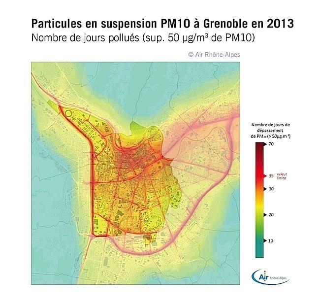 Il y a trop de particules en suspension, PM 10, à Grenoble. Une pollution de l'air qui risque d'exposer la France à de lourdes amendes. Crédit Air Rhône-Alpes.