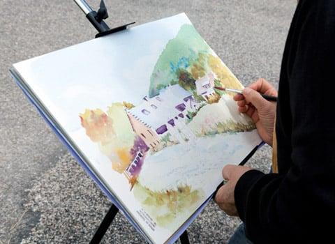 11e fête des arts à Corrençon-en-Vercors, concours de peinture qui a réuni, le 25 juillet 2015, neuf peintres dans le village, avec pour thème Fermes et bâti du Vercors. © Olivier Bertrand