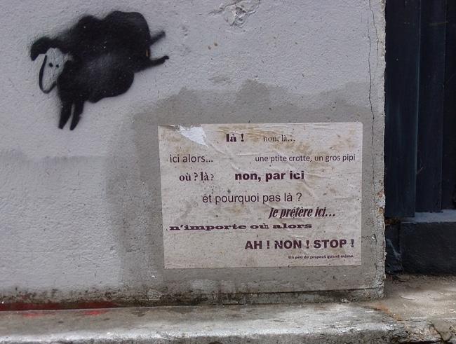 Affichette anonyme dénonçant les désagréments causés par les déjections canines dans la rue Génissieu. © Florent Matthieu - placegrenet.fr