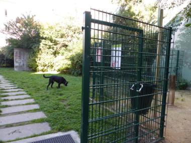 Parc à chiens qui est situé rue des arts à Grenoble avec un chien à côté. © Elodie Rummelhard - placegrenet.fr