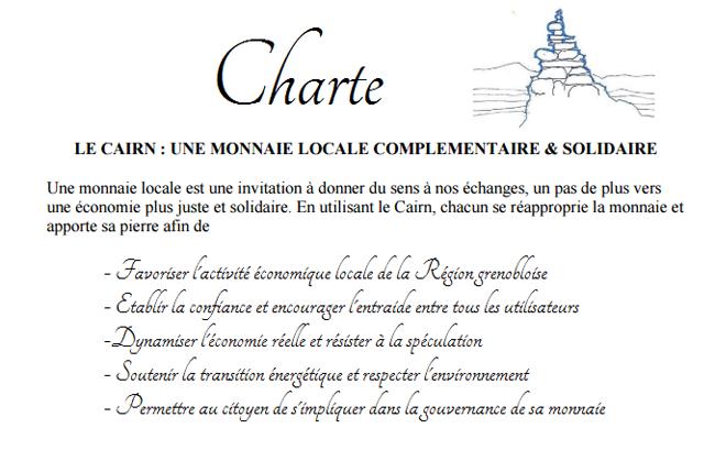 Charte du Cairn, la monnaie locale du bassin grenoblois © monnaie locale grenobloise
