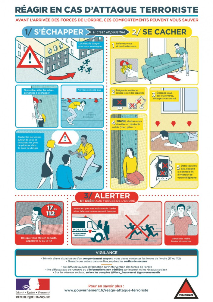 Comment réagir en cas d'attaque terroriste. @ Gouvernement.fr