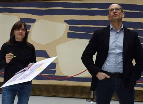 """Elisa Martin et Fabien Malbet, adjoints en charge du dossier """"rythmes scolaires"""" à Grenoble. © Séverine Cattiaux"""