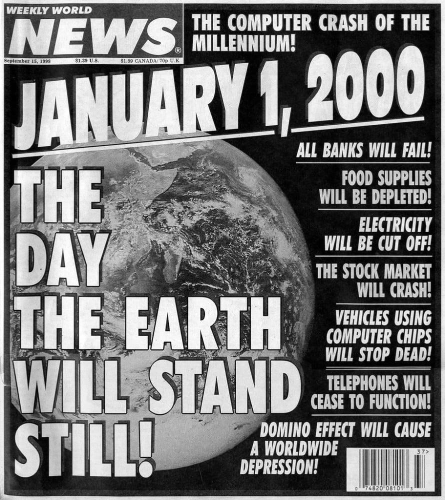 Quand le faux tabloïd américain Weekly World News riait du bug de l'an 2000. DR