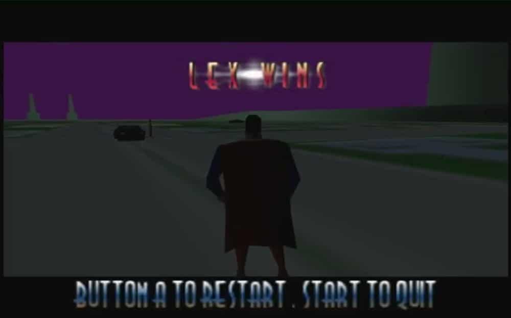Superman sur Nintendo 64, réputé comme l'un des pires jeux de l'histoire, modèle d'une 3D défaillante produisant de nombreux glitches. DR