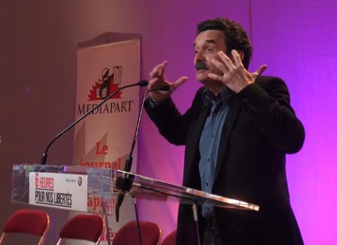 Edwy Plenel lors des « Six heures pour nos libertés ». © Joël Kermabon - Place Gre'net