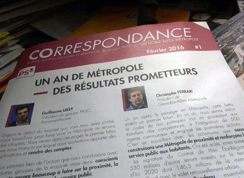 COrrespondance la lettre des élus socialistes et apparentés du groupe Pasc de Grenoble-Alpes Métropole. © Joël Kermabon - Place Gre'net